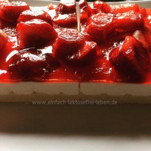 Laktose- und glutenfreie Kuchenschnitten erdbeer