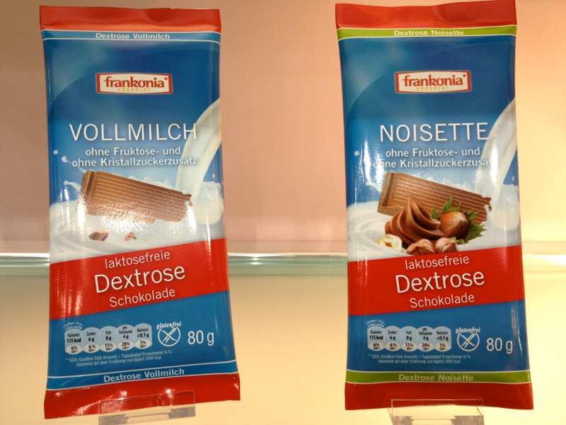 Laktosefreie und mit Dextrose gesüßte Schokolade von Frankonia