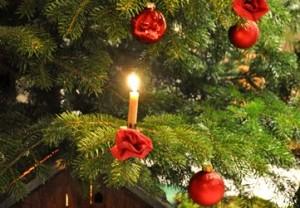 Weihnachtsbaum mit Bienenwachskerzen und roten Kugeln